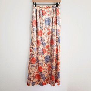 Vintage Crushed Velvet Floral Maxi Skirt